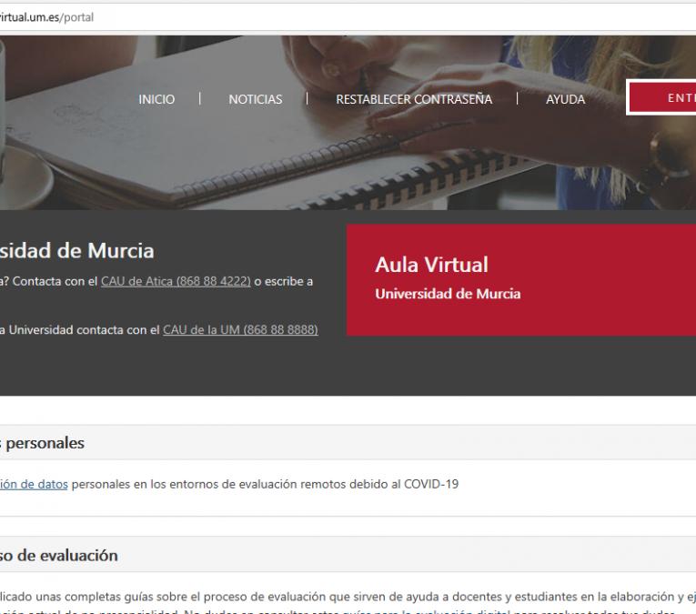pantalla de la portada del aula virtual de la Universidad de Murcia