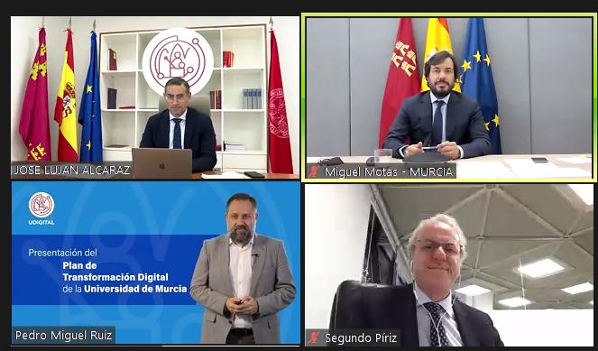 Foto ponentes evento presentación del plan de transformación digital de la universidad de murcia
