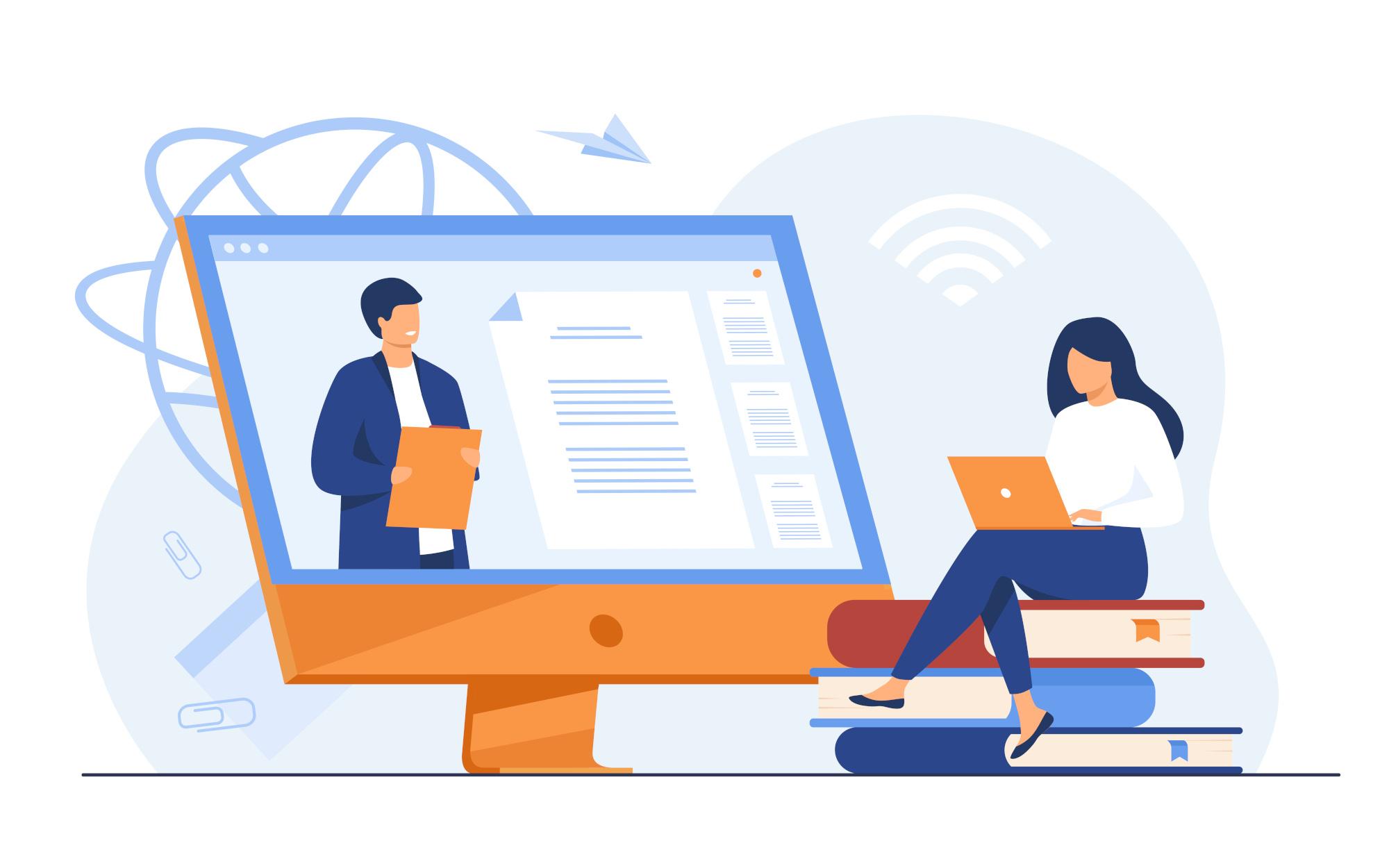 Female student listening webinar online